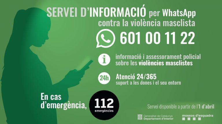 Nou servei d'informació per WhatsApp contra la violència masclista